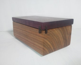 Wooden Box with Pull Top Lid  Handmade of Hardwood Canary, Purpleheart Wenge