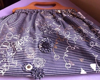 screen printed holdall craft bag with buttons  applique.