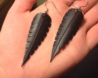 Rubber Feather Earrings- Handcut from Bicycle Inner Tubes