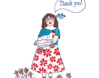 Thank you lady greetings card