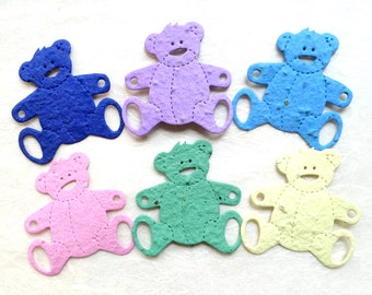 10+ Seed Paper Bears Baby Shower Favors - Plantable Paper Teddy Bears - Your choice color!