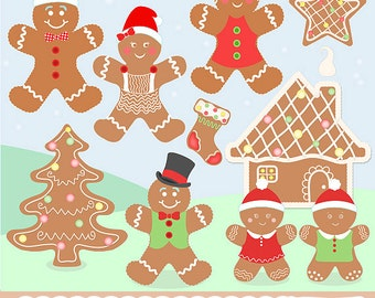 "Gingerbread Clipart: ""Gingerbread Friends"" with gingerbread clip art, christmas clipart, gingerbread digital clipart, gingerbread house"