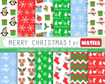 CHRISTMAS DIGITAL PAPER Pack, christmas scrapbook paper, christmas digital download for digital scrapbooking, xmas card making, invites