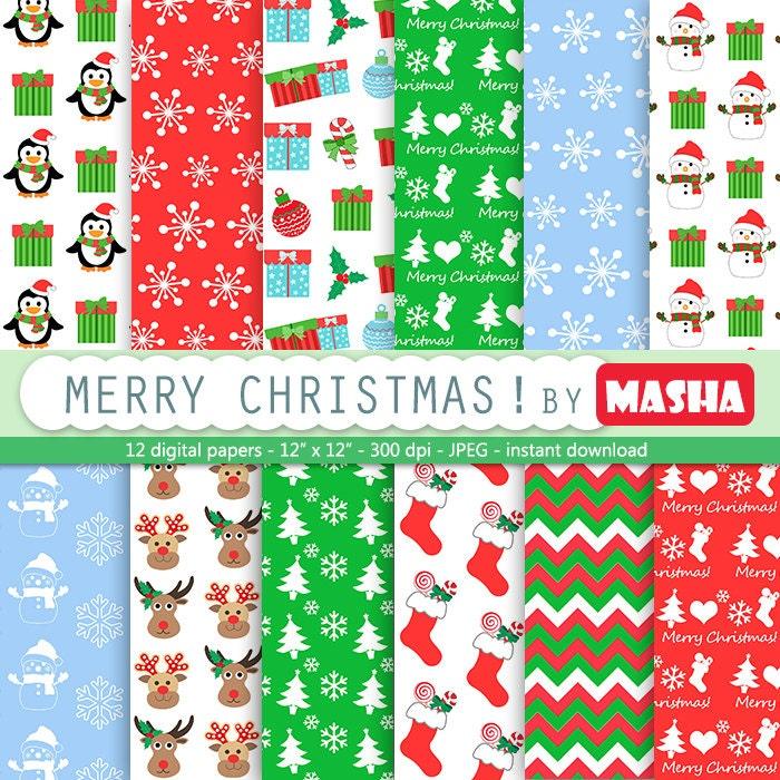 CHRISTMAS DIGITAL PAPER Pack christmas scrapbook by ...