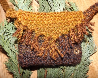 Woodland faery knitted shoulder bag - fae hippy earthy forest natural bags woollen boho crossbody pagan