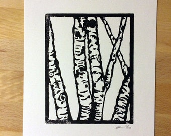"Birch Tree Linocut. 4""x5"""