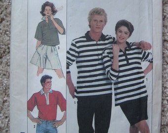 UNCUT Misses, Mens or Teen Boys Loose Fitting Knit Top in Two Lengths - Size X-Small through Large - Simplicity Pattern 8602 - Vintage 1988