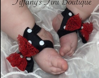 Black and red polka dot bow barefoot baby sandals, newborn shoes, baby sandals, elastic sandals, photo prop, baby accessories