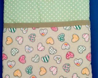iPad Sleeve in Padded Fabric heart design