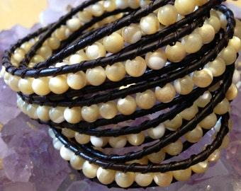Mother of Pearl bracelet - 4-5 times wrap bracelet