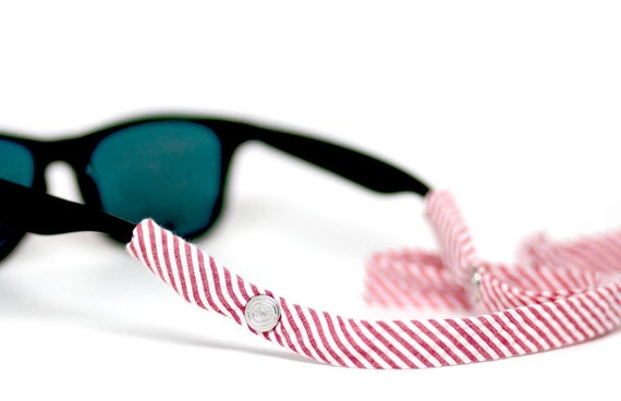 Seersucker Sunglass Straps - Red
