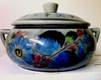 Large Vintage Folk Art Ken Edwards Tonala Pottery pot with lid Hand painted Mexico