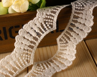 14yards Scollop embroidery mesh lace ribbon trim Ruffle decoden  -Col#Beige  Width#3cm