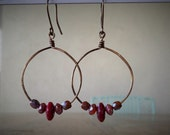 Beautiful Cinnabar Granite red brown Czech glass beads on Wire Earrings