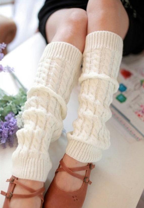 Slouchy Leg Warmers Stretchy Knitted CREAM Leg Warmers