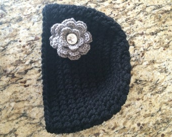 Black Women's Crochet Beanie with Rhinestone Centered Flower