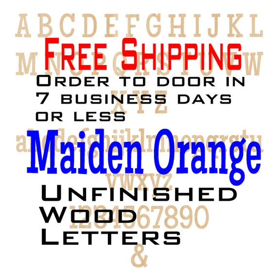 Unfinished Wood Letters Numbers, Free Shipping, Maiden Orange, Wood Craft, laser cut wood, &, wooden, wall, DIY, Wedding
