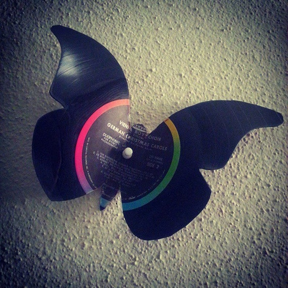 Vinyl record butterfly 3d wall art wall decor wall art for Vinyl record wall art
