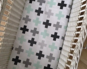 Modern Bassinet Sheet, Baby cradle Sheet, Moses Basket baby bedding, mint swiss cross.