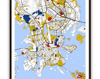 Helsinki Map Art / Helsinki, Finland Wall Art / Print / Poster / Modern Home and Office Decor