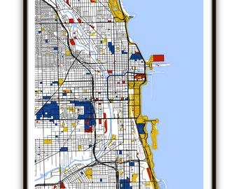 Chicago Map Art / Chicago, Illinois Wall Art / Print / Poster / Modern Home Decor