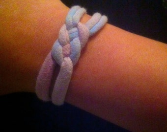 Recycled T-Shirt Bracelet w/ Carrick Knot Accent