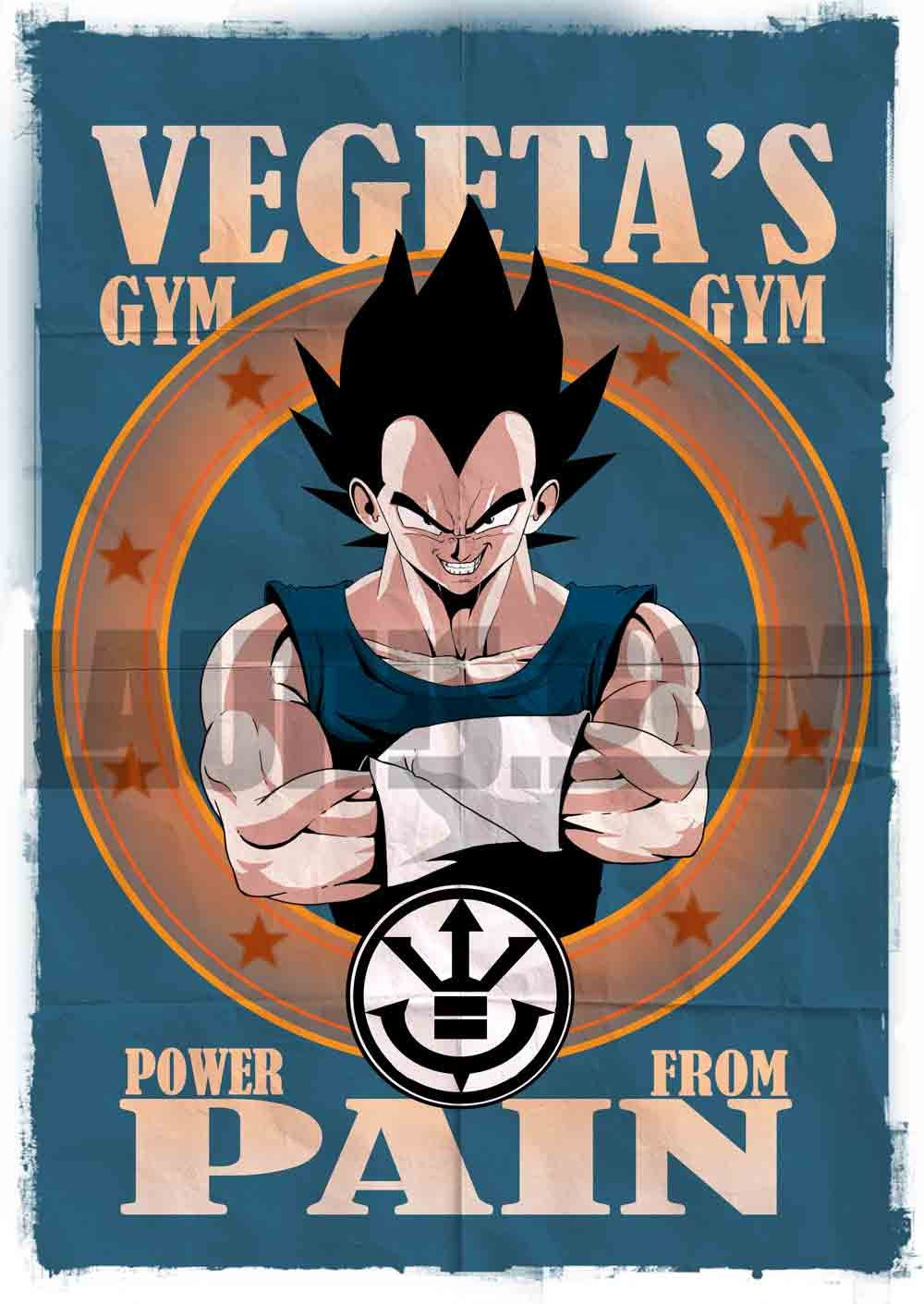Dragon ball z vegeta 39 s gym poster by mark lauthier by for Gimnasio 5 dragones