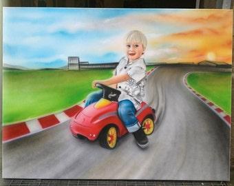Hand painted airbrush portrait canvas image to individual motif template unique painting art children portrait