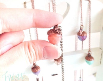 Acorn necklace, fortune, lucky, nature jewelry