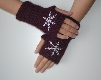Silk and Merino Wool Crochet Burgundy Fingerless Gloves with Snowflake Embroidery,Silk Gloves,Merino Wool Gloves,Mittens, Women Accessories