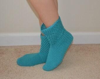 Turquoise Crochet Socks, Aqua Crochet Socks, Home Boots, Home Shoes, House Shoes, House Boots, Winter Fashion, Women Accessories