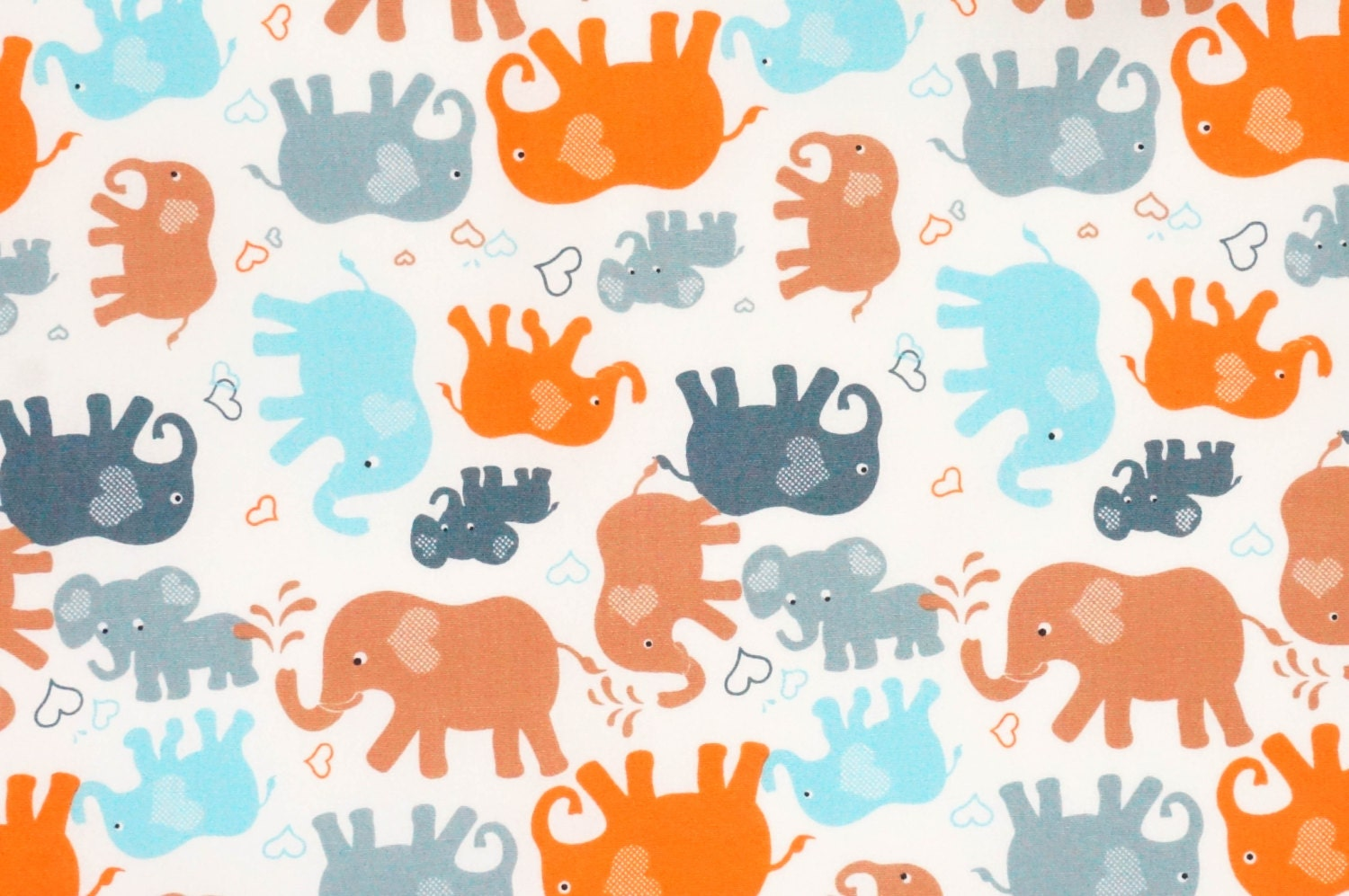 Cotton fabric elephant animal cute baby sweet blue and by for Cute baby fabric