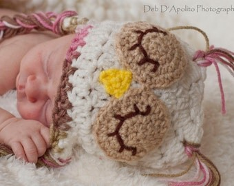 Sleepy Owl Hat / Newborn Photography Prop / Baby Owl Beanie