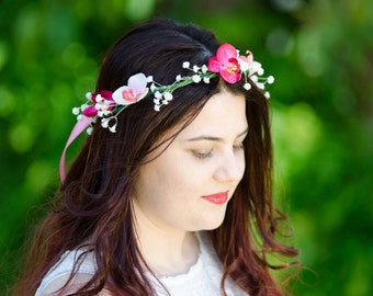 pink and white flower crown // pink and white floral headband // fairy wings // festivals, beach wedding, races, summer, beach inspired