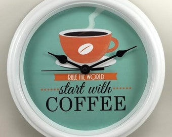 COFFEE Rule the World Start With Coffee/Best JAVA in Town KITCHEN Wall Clock