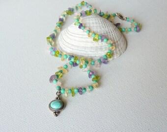 SALE, Beaded Necklace, Geniune Jewelry Turquoise Vintage Necklace,Retro Genuine Stone Necklace Fluorite Tourmaline Citrine Purple Necklace