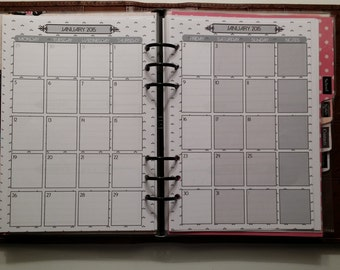 Filofax A5 One month on two pages /JAN15 - DEC15/ Black & White