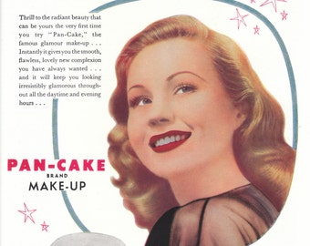 Vintage 1950s Max Factor Pan-Cake advert for framing retro Virginia Mayo