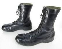Mens Vintage Bata Black Leather Lace Up Military Tactical Combat Jump 968 Ankle Boots Sz 10 N