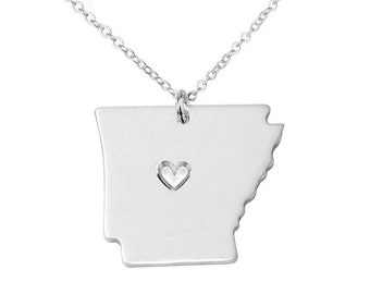Silver Arkansas State Necklace,AR State Charm ,Arkansas State Shaped Pendant,Arkansas State Necklace With A Heart