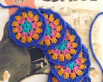Crochet mandala flower garland