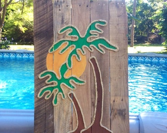 Handmade Palm Tree with Rope Beach Pallet Art