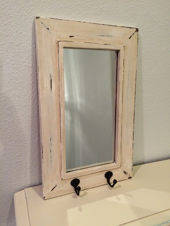 shabby chic wall mirror with key hooks by thedustytulip on etsy. Black Bedroom Furniture Sets. Home Design Ideas