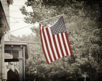 American Flag, Downtown U.S.A., Outdoor Photography, Street Photography, Main Street U.S.A., Cold Spring, NY, Small town living