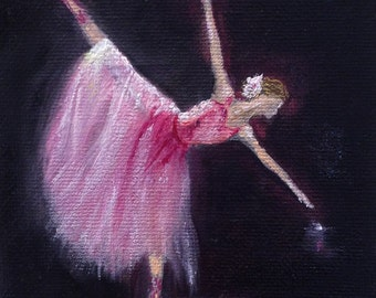 """BALLET DANCER original oil painting mini art from my """" sweets"""" collection gorgeous one of a kind piece of art.Now******Free Shipping*******"""