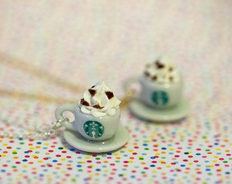 Miniature Starbucks Cappuccino Necklace with Sterling Silver/Silver Plated/Gold Plated Chain