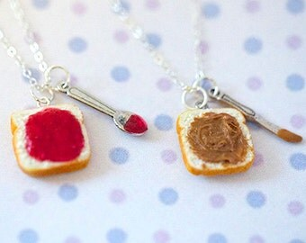 Miniature Cute BFF Peanut Butter Strawberry Jelly Heart Necklace Set with knife and spoon- Best Friend Forever