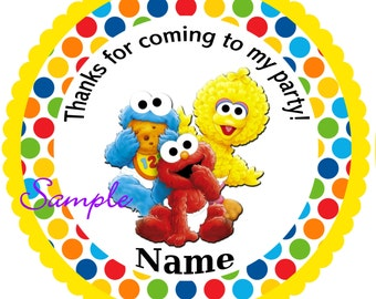 Sesame Street Babies Yellow Personalized Stickers, Party Favor Tags, Thank You Tags, Gift Tags, Birthday, Baby Shower