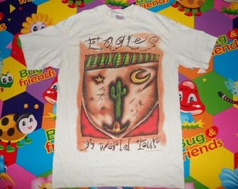 vintage 1990s eagles t shirt world tour concert hotel california made in usa