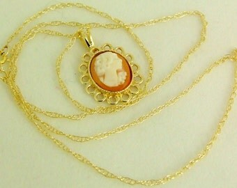 Soft & fine: Gem, cameo PENDANT with 9 carat, shell necklace, shell cameo,